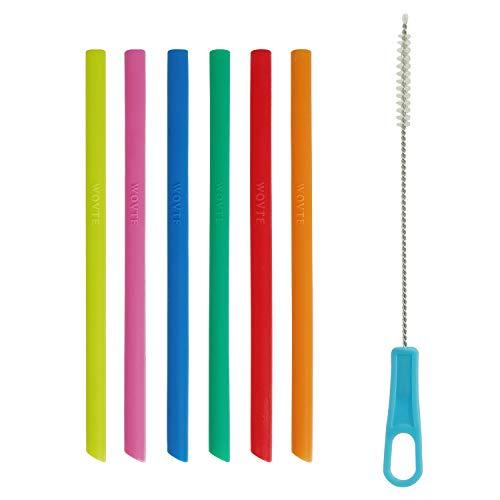 Pajitas de silicona de tamaño corto y delgado, sin BPA, reutilizables, para niños y niños, con 1 cepillo de limpieza para vaso de 10 onzas RTIC YETI Lowball