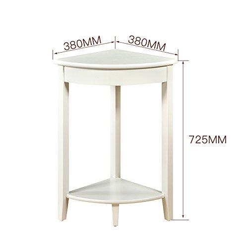 MEIDUO Étagères Étagère d'angle en bois massif 2 niveaux Salle de bain rangement fleur Stand Brown, blanc très durable (Couleur : Blanc, taille : 38 * 38 * 72.5cm)