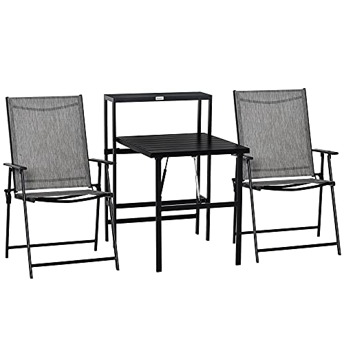Outsunny 3 Pcs Folding Garden Furniture Set, Foldable Table and 2 Chairs Set w/Side Shelf, Metal Frame, Indoor Outdoor Patio Balcony