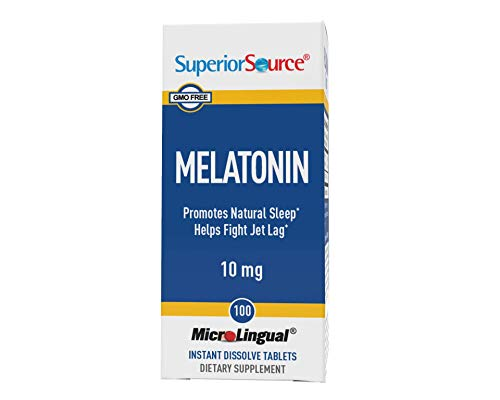 Superior Source Melatonin 10mg with Chamomile Instant Dissolve Tablets - Non Addictive Sleep Aid - Sublingual Melatonin - Natural Sleeping Pills for Adults 60 Count