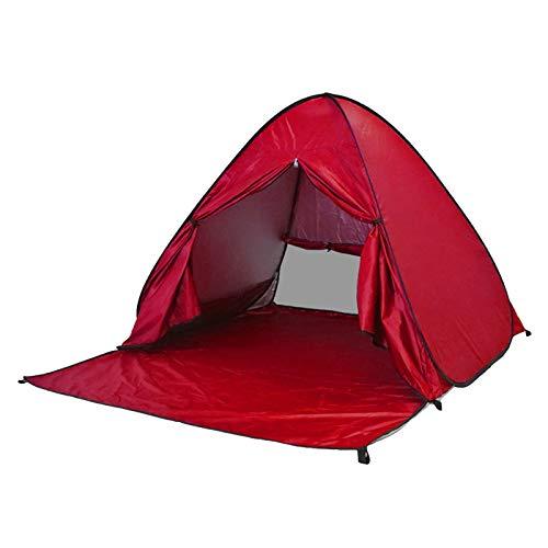 ZLOP Tienda de campaña de protección UV, tienda de playa, tienda de campaña para exteriores, portátil, protección UV, tienda de playa para familia, playa, jardín, camping (1 unidad, color rojo)