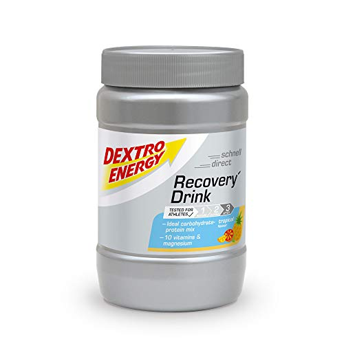 Recovery Drink von Dextro Energy | 356g Getränkepulver Tropical | Protein Pulver mit Kohlenhydrate, Vitamine und Mineralstoffe