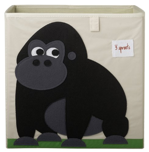 3 Sprouts Organizer Container Cube Storage Box for Kids & Toddlers, Gorilla