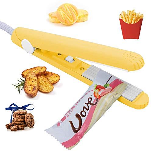 Folienschweißgerät, Bag Sealer Heißsiegel für die Aufbewahrung von Lebensmitteln, Heißsiegelgerät Maschine mit 45-Zoll-Stromkabel für Vakuumierbeutel, Chip-Beutel, Plastiktüten, Snack-Taschen-Gelb