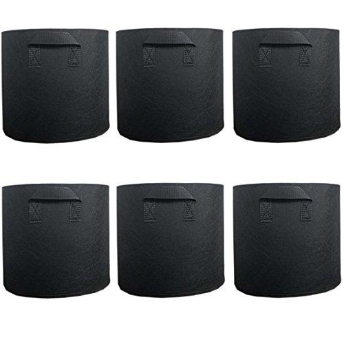 Ancdream Lot de 6 (20 Gallon) Noir Tissu Bassin Récipient Rond Végétale Potted Sac Plantes Grandir Sacs Plantation Pots Pochette Aération