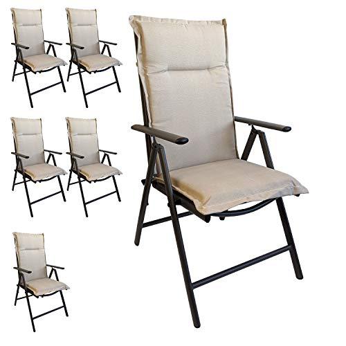 Multistore 2002 6er Set Elegante Gartenstuhlauflage Stuhlauflage Polsterauflage Hochlehner Beige 120x45cm - 5cm dick Sitzauflage Sitzpolsterauflage Sitzkissenpolster