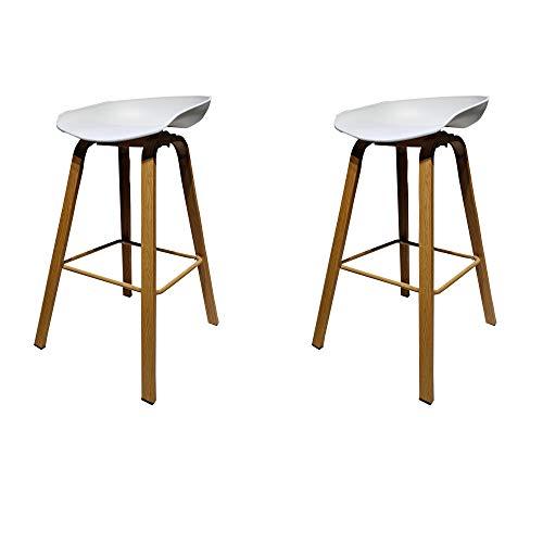 GroBKau - Juego de 2 taburetes altos para cocina, con asiento de polipropileno y patas de metal, altura del asiento 74,9 cm