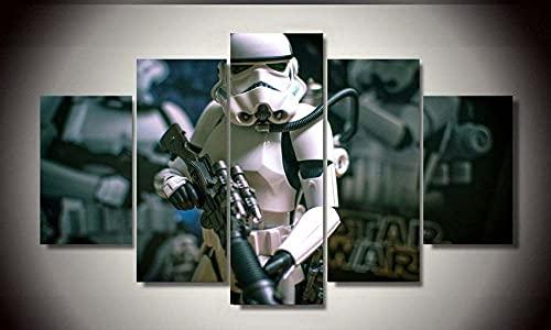 VYQDTNR Cuadro en Lienzo Impresión de 5 Piezas Material Tejido no Tejido Impresión Artística Imagen Gráfica Decoracion de Pared Abstracto Star Wars Stormtrooper 200x100Cm