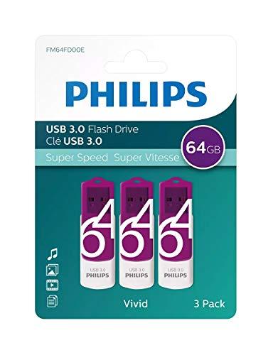 Philips Pendrive USB 3.0 64 GB - Vivid Edition (64GB Confezione 3 pezzi) pen drive chiavetta chiavina pennina ad altà velocità