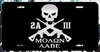 JMM Industries Molon Labe 3 Percenter Skull Vanity Novelty License Plate Tag Metal 12-Inches by 6-Inches Etched Aluminum UV Resistant ELP008