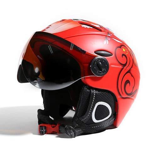 Casque De Ski, Adulte Sécurité Casque avec Lunettes, Protection One-Piece, Sports De Plein Air Vélo Vélo Skate Moto Casque De Moto, Équipement De Protection,1,XL