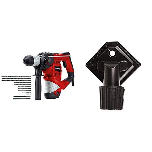Einhell Bohrhammer TC-RH 900 Kit (900 W, 4100 min.-1 Schlagzahl, 3 J Schlagstärke, Hammerbohren, Bohren und Meißeln mit Meißelfixierung, inkl. 12-teiligem Bohrer- & Meißelset, Koffer, Bohrdüse)