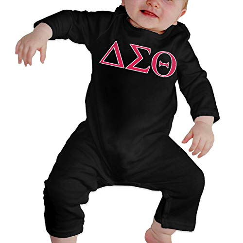 YISHOW Delta-Sigma-Theta Bodysuits Infant Romper Jumpsuit Long-Sleeve Toddler Onesie 6M Black