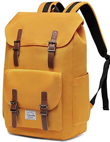 Schulrucksack Mädchen Teenager, VASCHY Wasserabweisend Vintage 15,6 Zoll Laptop Rucksack Casual Daypack für Jugendliche Hochschule Arbeit Reise (Gelb)