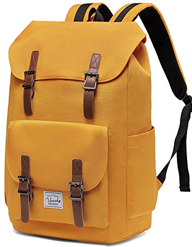 VASCHY Unisex Vintage Backpack Teens School Camping Rucksack Daypack Work Backpack for 15.6in Laptop (Yellow)