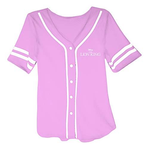 Disney Ladies Lion King Fashion Shirt - Ladies Classic Hakuna Matata Clothing Lion King Mesh Baseball Jersey (Light Pink, Medium)