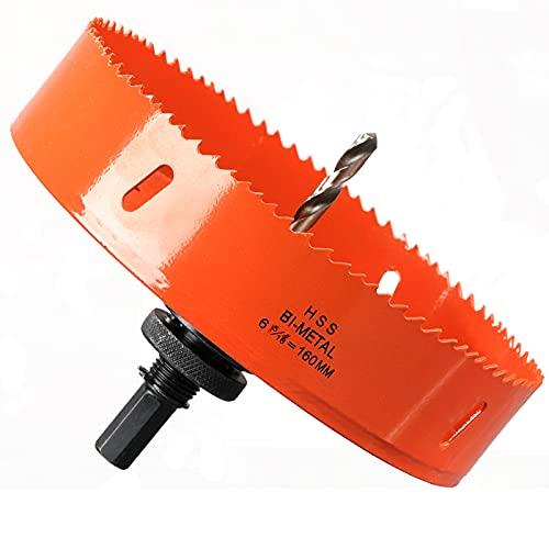 Sierra de corona de 160 mm, acero rápido HSS M42 bimetal, sierra perforadora con vástago hexagonal y broca para madera, construcción en seco y chapa de metal, 1 unidad, color naranja