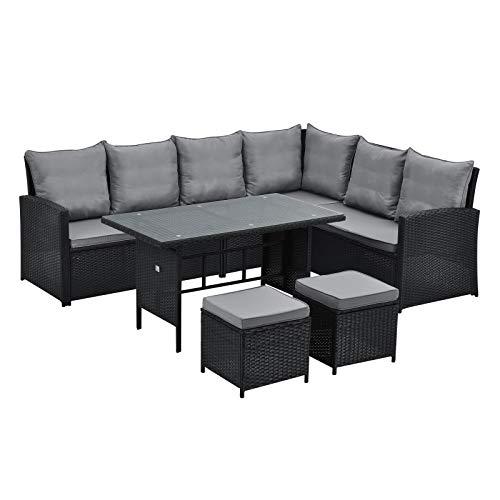 SVITA Monroe Garten-Lounge Set Polyrattan Lounge-Möbel Sitzgruppe Garten Schwarz
