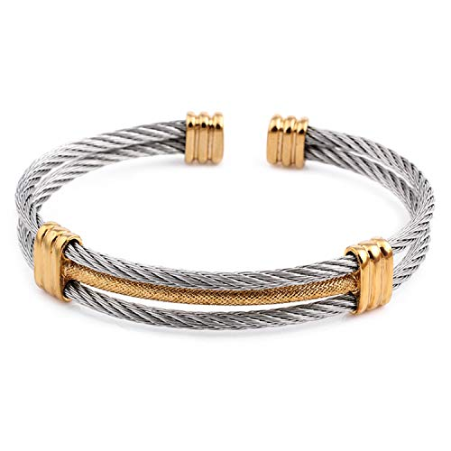 Daawqee Mujer Pulsera/Brazalete, Spring Wire Line Colorful Titanium Steel Bracelet Stretch Stainless Steel Cable Bangles For Women 81118 58-60mm