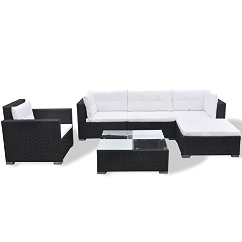 vidaXL Garden Lounge Set 17 Pieces Poly Rattan Black Outdoor Patio Sofa Seat