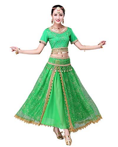Grouptap Bollywood Lehenga Choli Indiano Donna Anarkali Saree Signore Festa Nuziale Designer Camicia da Ballo Abito Verde Costume Lengha (Verde, 152-172 cm, 45-70 kg)