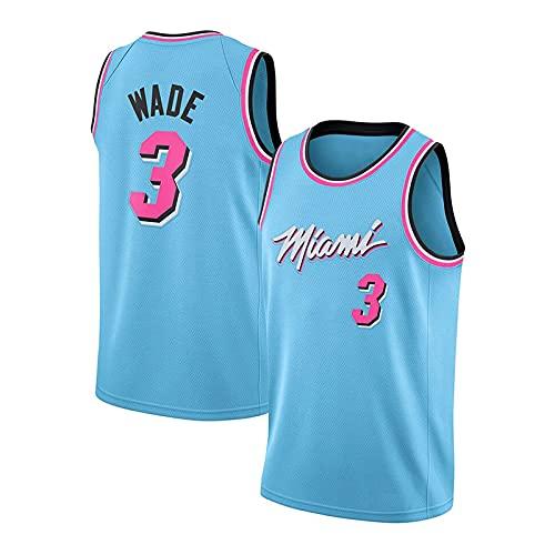 CGXYHLZ Camiseta de Baloncesto para Hombre, Dwyane Wade # 3 - Camiseta NBA Miami Heat, Tela Fresca y Transpirable, Camiseta City Edition Camiseta de Baloncesto de Malla Bordada Swingman