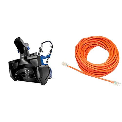 Snow Joe SJ625E 21-Inch 15 Amp Electric Single Stage Snow Thrower & AmazonBasics 12/3 SJTW Heavy-Duty Lighted Extension Cord | Orange, 100-Foot