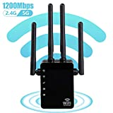 1200Mbps WiFi Range Extender, Carantee Wireless Signal Repeater Booster 2.4 & 5GHz Dual Band 4 Antennas 360° Full Coverage, Extend WiFi Signal to Smart Home & Alex Devices (Black)