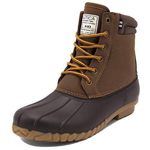 Nautica Mens Channing Waterproof Snow, Insulated Duck Boot-Big and Tall-Wide Width -Tan/Brown-12