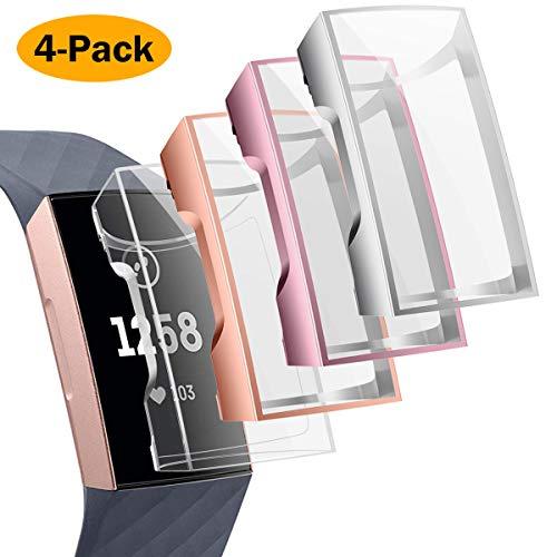 CAVN Schutzhülle Kompatibel mit Fitbit Charge 3 /Charge 4 Schutzfolie Hülle (4-Stück), Flexibles TPU Ultradünner Vollschutz Gehäuse Bumper Stoßfestes Displayschutz Schutz Hülle für Charge 3/Charge 4