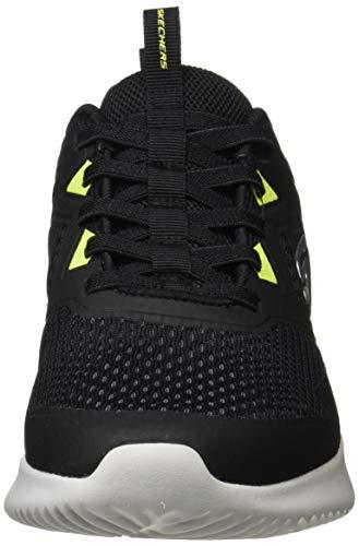 Skechers Bounder-High Degree, Zapatillas para Caminar Hombre, Negro (BLK Black Mesh/Synthetic/Lime Trim), 42 EU