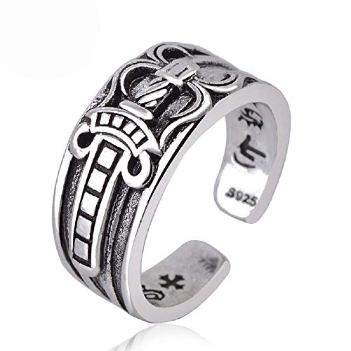 1.NO 925 Sterling Silver Celtic Knot Cross Religious Oxidized Vintage Antique Ring for Women Men Unisex - Christian Holy Cross Lords Prayer Ring