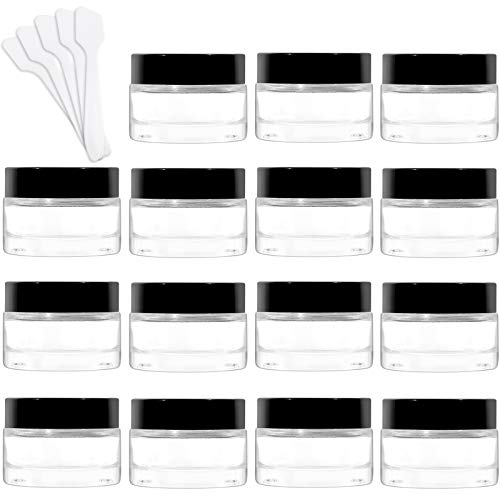 15 Pack 1 oz Clear Round Glass Jars with Black Lids & Inner Liners,Betrome Empty Cosmetic Containers Refillable Cosmetic Jars Sample Jars