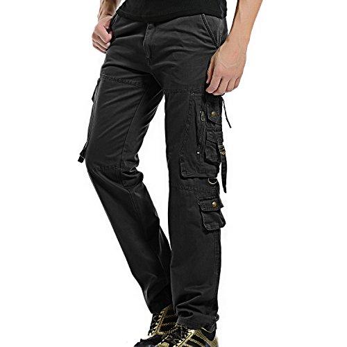 AYG Herren Cargo Hose Arbeit Hose Cargo Combat Baumwolle # 018 Gr. Größe 42-44, Black#018