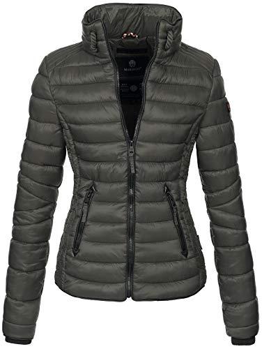 Marikoo Damen Jacke Steppjacke Übergangsjacke gesteppt mit Kordeln Frühjahr Camouflage B405 (XL, Anthrazit)
