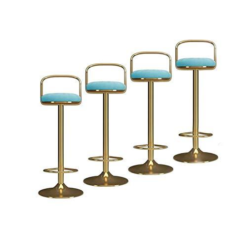Taburetes de bar Taburetes de barras giratorias ajustables, asiento de terciopelo, con espalda, elevador mecánico conjuntos de bares con juego de 4 Taburetes de Barra de Desayuno ( Color : Sky blue )