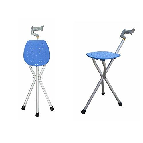 Aufun Sitzstock Dreibeiniger Gehstock mit Sitzfläche Spazierstock Anti-Rutsch Gehstütze Wanderstock für Senioren und Behinderten, Typ C