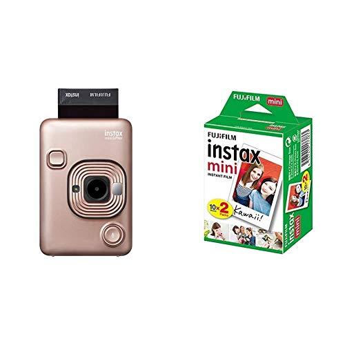 Fujifilm Instax Mini LiPlay Blush Gold Fotocamera Ibrida Istantanea e Digitale & Instax Mini Film, Pellicola istantanea per fotocamere Instax Mini, Confezione da 20 foto