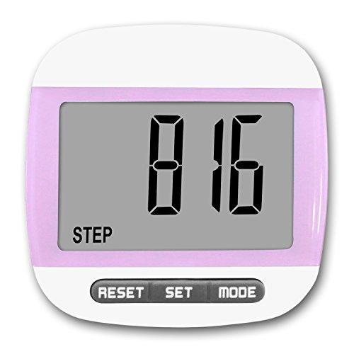 MyTrackz Schrittzähler, Pedometer, Stepcounter, Kalorienzähler, Kilometerzähler, Entfernungsmesser, Einfache Bedienung, Gürtelclip, Schrittmesser, Günstig Bestellen (Pink)