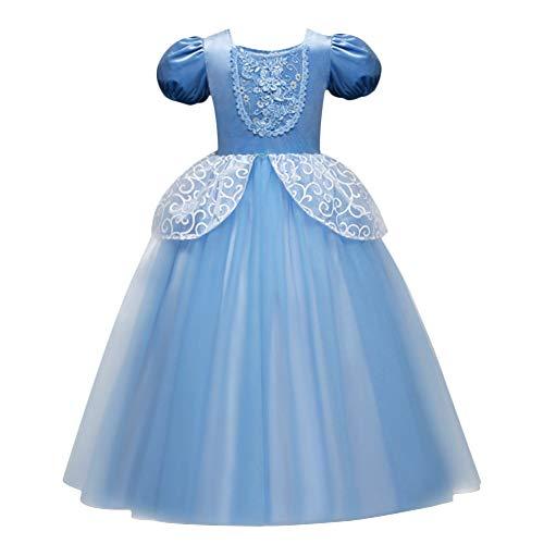 IBTOM CASTLE Prinzessin Cinderella Kostüm Kleid für Kinder Mädchen Festival Karneval Fasching Tütü Hochzeit Partykleid Festzug Brautjungfer 5-6 Jahre