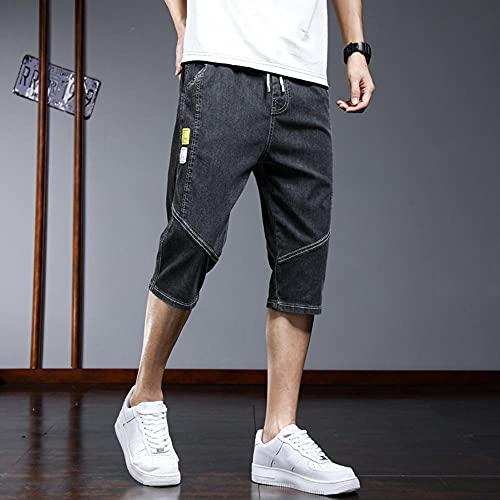 MZL Jogging Fitness Short Pants Pantalones Cortos de Mezclilla Hombres Verano Sueltos Pantalones Cortos Casual Pantalones al Aire Libre Pantalones de playa-1817black_28