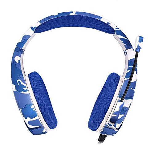 Esenlong Auriculares estéreo para videojuegos para PS4 Smartphone PC sobre el oído - Expansión de auriculares con micrófono LED - Conector de 3.5 mm - Auriculares suaves con cancelación de ruido