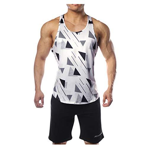 Celucke Lässiges Trägershirts Herren Tank Tops Print Tanktops Männer Tankshirt Fitness Muskelshirts Unterhemden Sommer Strand Sport Jogging Slim Fit (Weiß,XXL)