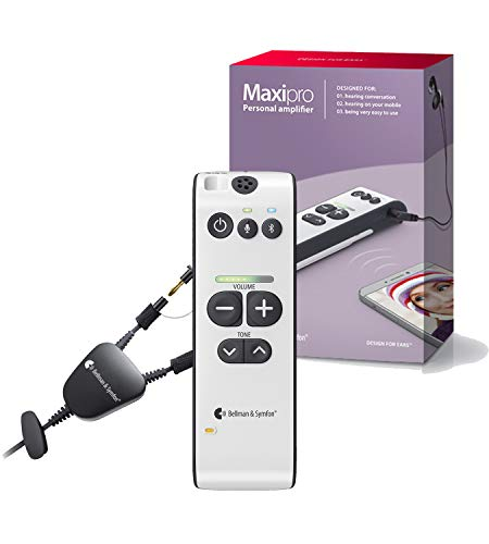 Bellman & Symfon Maxi Pro Personal Sound Amplifier with Neckloop for Use with Hearing Aid Equipped with T-Coil - Wireless Sound Amplification Device - Clarifies Sound, Bluetooth Capability
