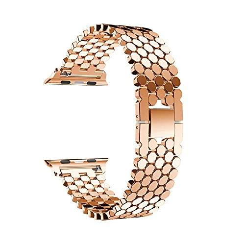 Compatibile per Apple Watch Cinturino 44mm 42mm 40mm 38mm, Cinturino per Orologio Metallo Acciaio Inossidabile A Squame di Pesce Compatible per Apple Watch Serie 6 se 5 4 3 2 1(42 / 44mm, Rose gold)
