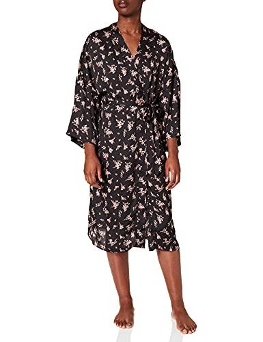 Women' Secret Bata satén Estampado Flores Kimono, Multicolor, L para Mujer