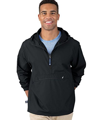 "The ""Newport Collection"" Pack-N-Go Pullover Jacket from Charles River Apparel, Black, XL"