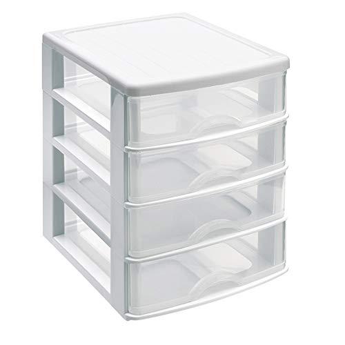 PLASTIC FORTE, Cassettiera da tavolo, bianco, 4 cassetti