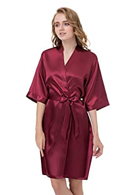 gusuqing Women's Pure Color Short Kimono Robe Sleeve Bridesmaid Robe Dark Burgundy 28 M