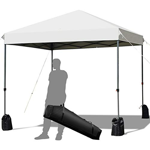 Tangkula 8 x 8 Ft Outdoor Pop up Canopy Tent, Outdoor Commercial Instant Shelter w/Roller Bag and Sand Bags, Straight Leg Folding Tent with 64 Square Feet of Shade for Camping, Party, Barbeque
